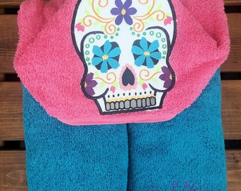 Sugar Skull Hooded Towel, Day of the Dead Celebration, Skull Hooded Towel, Skulls