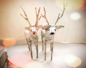 Deer Paper Model set of 2 made from recycled book pages with copper coloured hand painted antlers - Miniature Stag Decoration -MADE TO ORDER