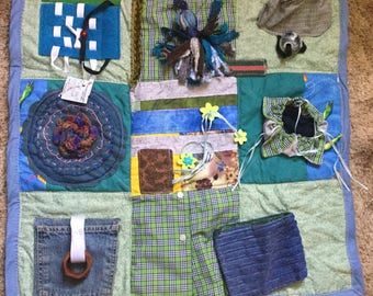 Fidget Quilt/Sensory Green, Plaid and Blue