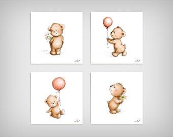 Set of 4 Cute Teddy Bears - Printable Art - Animal Nursery Wall Set - Children's Art - Nursery Wall Art - Children's illustration