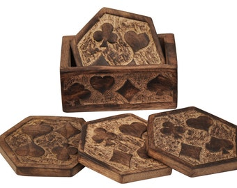 """SouvNear Set of 4 MangoWood Beverage Coaster with Holder 4""""Coasters for Glasses/Bar & Dinning Accessories"""
