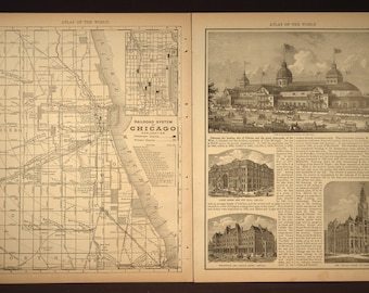 Chicago Street Map Chicago Railroad Map Antique 1800s 1890