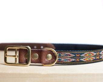 "Custom Leather Blue/Yellow Dog Collar. Navajo Navy 1"""