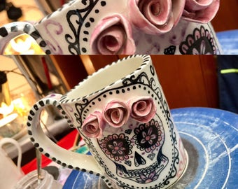 sugar skull mug mexican, day of the dead made to order