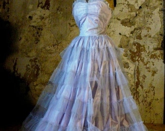 vintage 1950 tulle prom dress antique corset