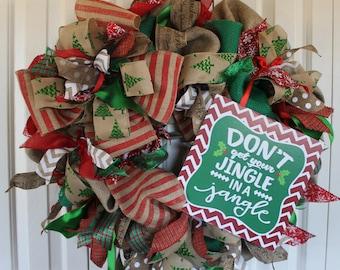 Large burlap Christmas Holiday wreath. Christmas winter Wreath.  Christmas Decor.  Jingle Rustic Holiday burlap wreath.  Christmas bu