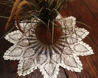 """Vintage 20"""" Round White Lace Crochet Doiley Knitted Doily"""