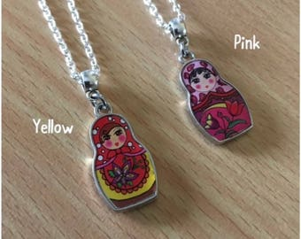 Russian Doll Necklace - Matryoshka Enamel Necklace