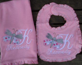 Bib and Burp Cloth set for Baby Girl, Butterfly bib and burp cloth set