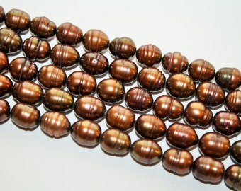 Brown Freshwater Peals,  10x8mm - 40ct - D142