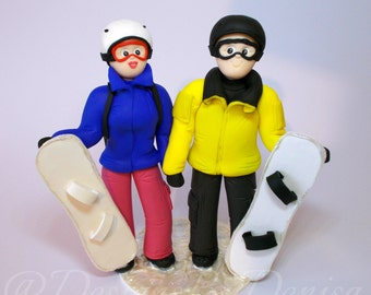 Hand Made Personalised Wedding Cake Toppers Snowboarding Wedding Cake Toppers Winter Sports Wedding Cake Toppers Skiing Cake Toppers