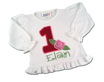 Girl's Glitter Rose Birthday Shirt with Number and Embroidered Name