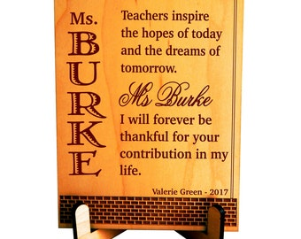 Customized Teacher Thank you Gift, Personalized Teacher Recognition Gift, Gift for Teacher Appreciation Week, Best Teacher Ever Gift, PLT009