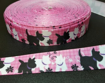 Scottish Terrier Scottie grosgrain ribbon for hair bows, scrapbooking, other crafts - sold in lengths of 1, 3, or 5 yards - M1236