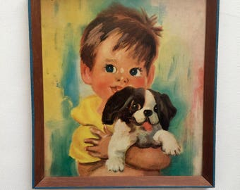 Cute Vintage Kitsch Print by Soulet/Little Boy with Puppy/60s
