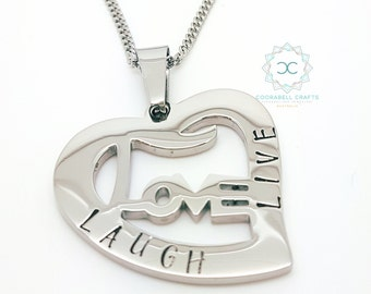 Personalised Jewellery, Personalised Necklace, Family Necklace, Hand Stamped Silver Love Pendant, Love Heart Pendant, Mummy Jewelry,