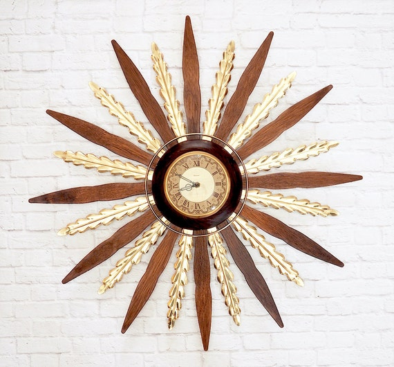 Mid Century Wood And Brass Starburst Clock By United Vintage