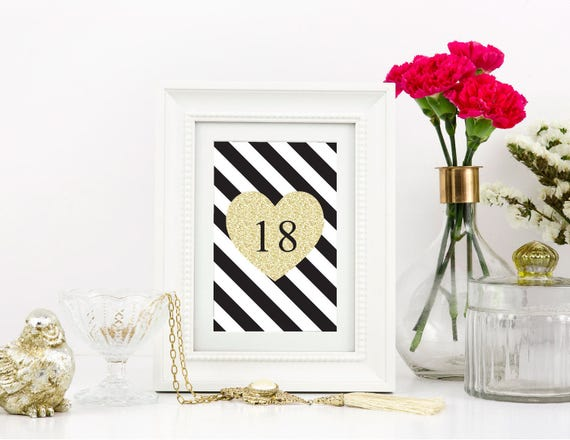 Wedding Table Numbers, Reception Table Numbers, Black white and gold ...