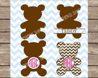 Teddy Bear svg Monogram svg Chevron Teddy Bear svg Cute svg files cutting file cut file DXF cricut silhouette cameo heat transfer