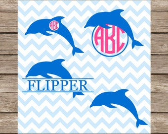 Dolphin svg Dolphins svg Monogram svg Dolphin Monogram svg Nautical svg Monogrammed svg svg files cutting file silhouette cricut