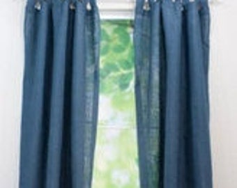 "Coloured Tab Top Burlap Curtain - Tab Top Burlap Drapes - Colored Tab Top Curtain Panel - 38"" Wide - One Panel - Choose Size"