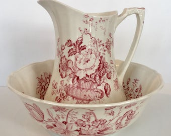 "Beautiful Pink ""Charlotte"" Transferware Wash Basin & Pitcher Alfred Meakin Staffordshire England"