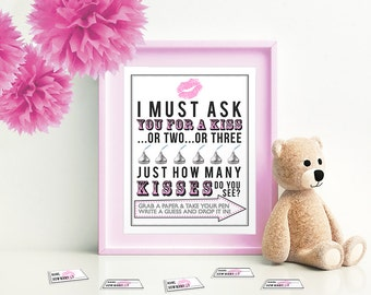 Pink I Must ask You for a Kiss -Game for Baby Shower 5x7 & 8x10 PDF  Instant download printable