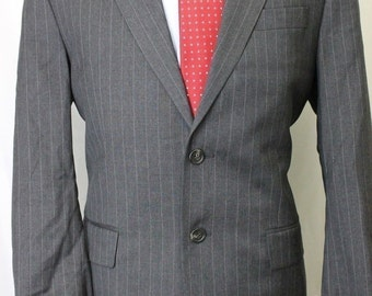 Vintage 40R Lauren Ralph Lauren Macys Gray Pinstripe 100% Wool Mens Suit 38x29 SE6