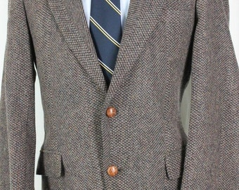 Vintage 40R WFF By Farah Brown Herringbone 100% Wool Tweed Sport Coat Blazer NO6