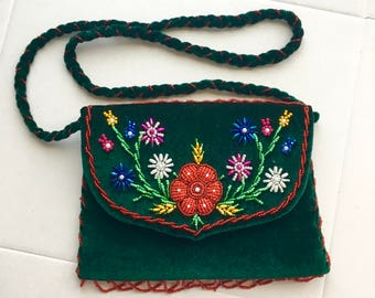 CLEARANCE Green Velvet Purse Embroidery HandBag Beaded Green bag hand made beaded purse flower Embroidery Sequins and beads purse