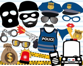 Instant Download Police Photo Booth Props, Cops and robbers Party Photo Booth Props, Police Birthday Party, Police Car, Thief, 0402