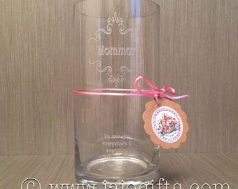 Personalised engraved handblown glass vase with monogram and message perfect for Mothers Day, birthdays etc
