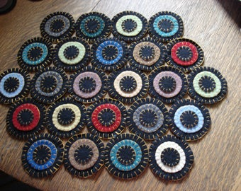 Wool Penny Mat Hexagon Shape Candle mat, centerpiece mat,  Multi-colored 17 by 13 inches