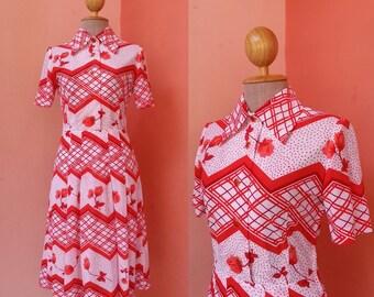 Floral Print Dress 80s Day Dress 1980s Dress Retro Dress Shirt Dress Japanese Dress Boho Dress Tea Dress Polyester Dress Short Sleeve Midi