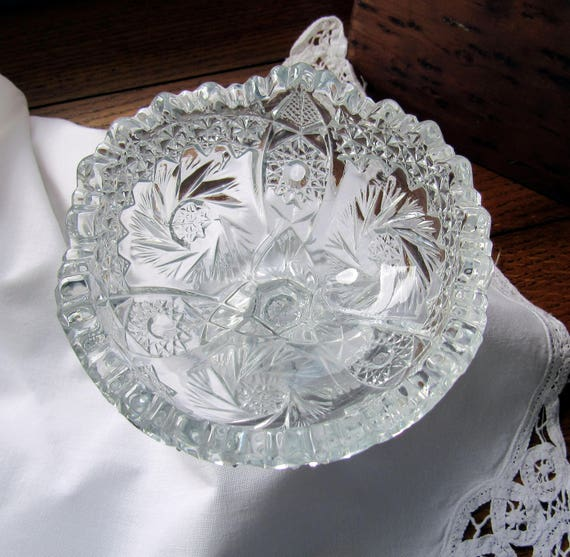 EAPG Pedestal Cut Glass Bon Bon or Candy Dish Stars And Swirl Designs Sawtooth Edges