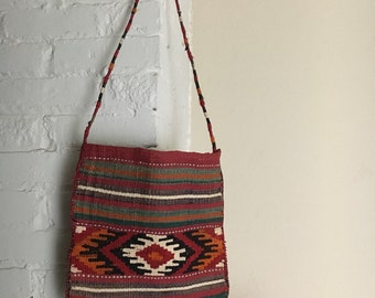 Vintage Native Hand Woven Tote Bag / Colorful / Geometric Patterns