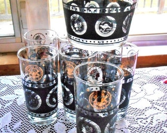 Barware Cera Black and Gold Antique Gold Coins Motif With 7 Glasses And Ice Bucket Set