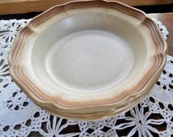 """Mikasa Whole Wheat Stoneware E8000 Soup Coupe Bowls 8.5"""" Wide Lot of 3"""