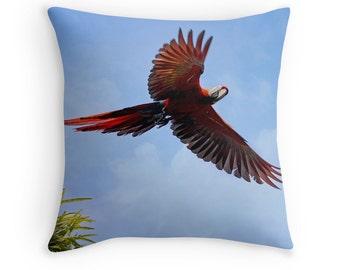 Bird Gifts, Bird Throw Pillow, Tropical Birds, Scarlet Mackaws, Parrot Pillow, Bird Cushion, Red and Blue Pillow, Wildlife Decor, Costa Rica