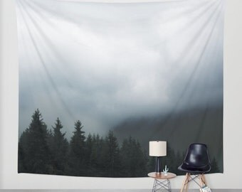 SALE wall tapestry. gothic tapestry, large size wall art, nature decor, lake, forest, dark, mist, black, deep blue, gray grey