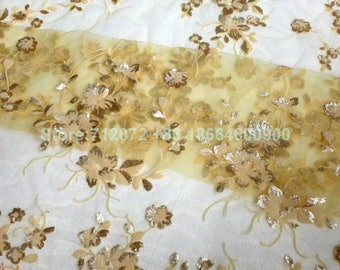 New fashion pink/off white 4colors sequins on netting Embroidery evening/stage/show dress lace fabric 130cm by yard