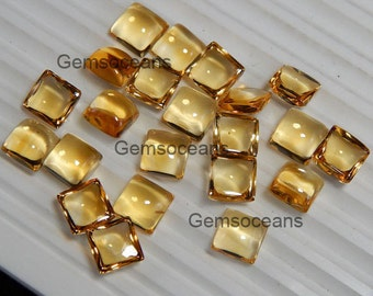 Lot Of 10 Pieces Genuine Citrine Square VS1-VS2 Cabochon Calibrated Gemstone