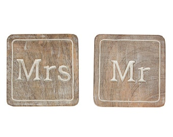 SALE!! Mr & Mrs Wooden Coasters (Seconds batch)