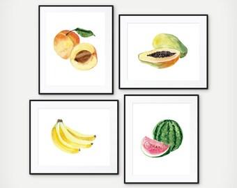 Kitchen Fruit Prints - Kitchen Decoration - Kitchen Wall Art - Fruit Print - Fruit Kitchen Art - Food Art - Kitchen Print - Set of 4