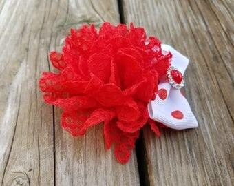 Red Lace Flower, Flower Headband, Hair Accessory, Girls Accessory, Spring Flower, Baby Girl Headband, Girls Hairclip, Baby Girls Hairclip