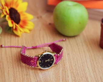 Pink watch | Womens wrist watch | Modern jewelry | FREE SHIPPING! | Handmade jewelry | Gift for her