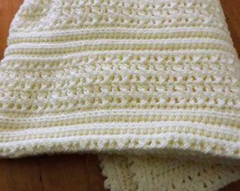 Crochet Baby Blanket in Cream
