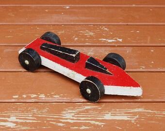 Pinewood Derby Car, Vintage Wood Stock Car, Toy Race Car, Boy Scouts Derby Car, Vintage Toy Car