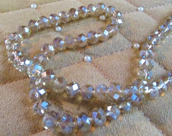 8x10mm Silver Champagne AB Crystal Rondell  8 inch strand