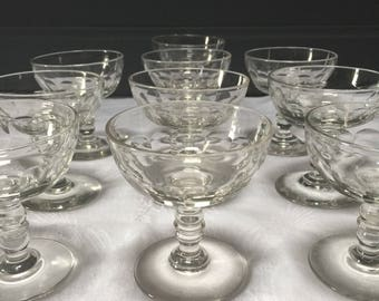 Special Set of 2 Handmade French Antique Crystal Champagne Saucers, Champagne Coupes, Champagne Glasses